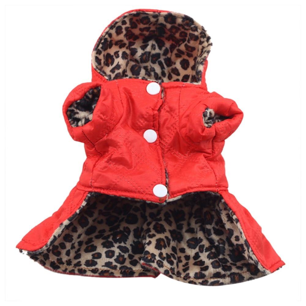 Invierno mascota perro gato leopardo ropa abrigo ropa cachorro Hoodie 100% XS-XL de algodón cálido vestido