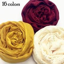 1 pc 새로운 스카프 라인 석 장식 목도리 일반 맥시 hijab 긴 pashmina 좋은 웨이브 머플러 이슬람 scarfs 패션 스카프 16 색상