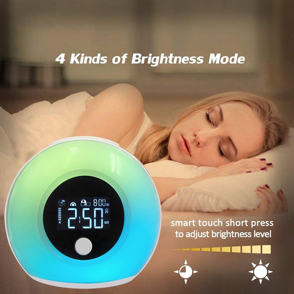 Despertador Digital 3 en 1, luz LED táctil inteligente colorida, adaptador USB BT, luz nocturna LCD, despertador, lámpara de sueño Musical