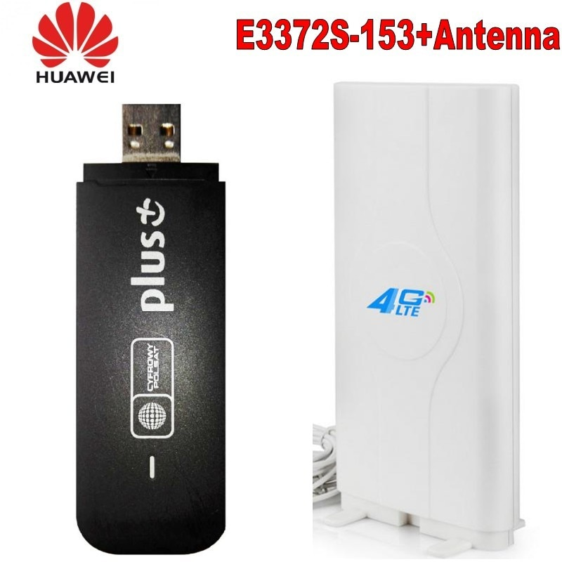 Huawei E3372s-153 150mbps Huawei 4G USB Modem + CRC9 conector 49DBI 4G antena externa amplificador de señal antena