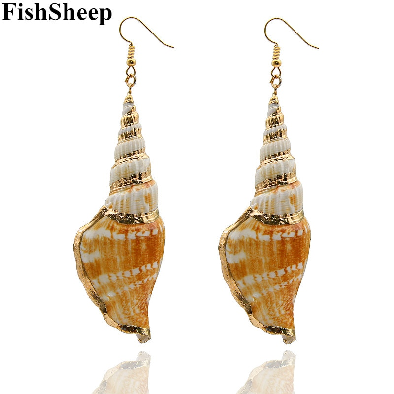 FishSheep Bohemian Natural Conch Brincos Para As Mulheres da Cor do Ouro Big Sea Snail Oscila Brincos Feminino Acessórios de Praia Presentes