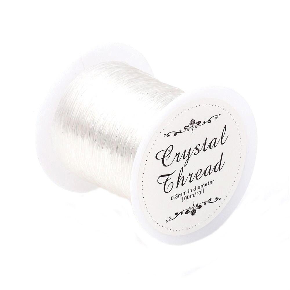 Pandahall 100 M Transparente Estiramento Elástico Beading Cabo de Corda Clara/String/Tópico DIY para Fazer Jóias Bracelet & necklace0.8mm
