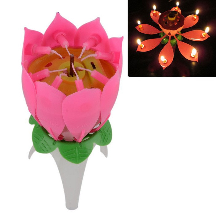 Vela de cumpleaños increíble romántica flor de loto musical regalo para fiesta de cumpleaños vela musical