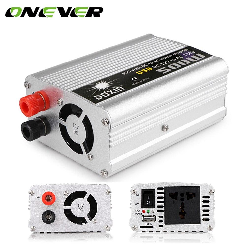 Onever 500W USB coche potencia modificada Sine Wave inversor convertidor DC 12V a AC 220V Auto aluminio 50Hz 1000W pico inversor de potencia