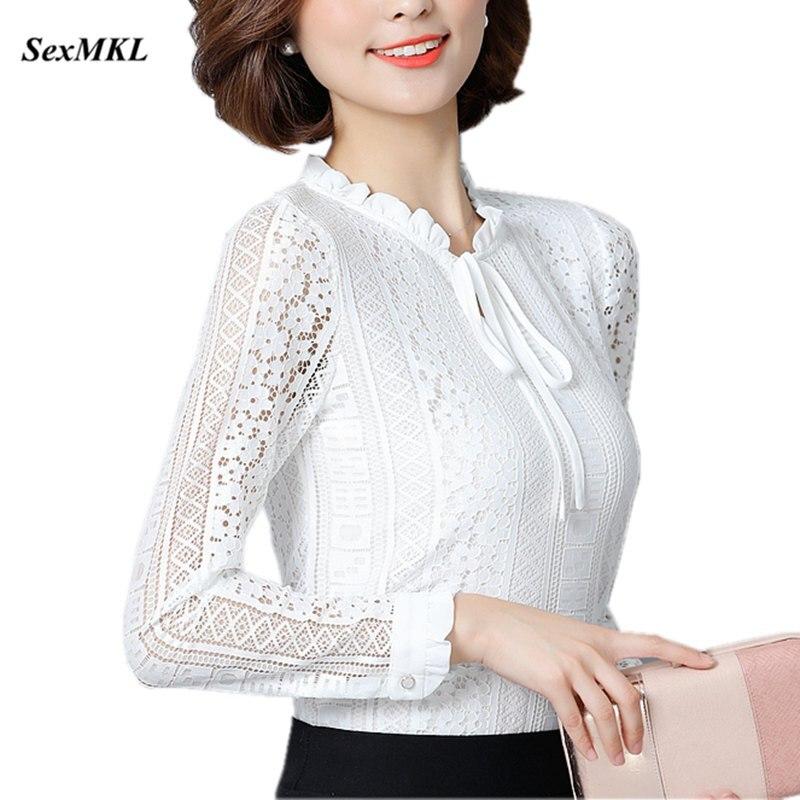 SEXMKL, Blusas y Tops para mujer, Blusa de encaje blanca de manga larga, ropa de moda coreana 2020, Blusas de oficina, camisas elegantes para mujer