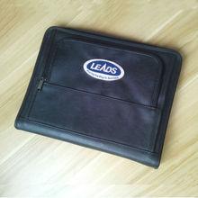 Bureau a4 PU cuir zipper portefeuille affaires exécutif classique dossier porte document stylo boucle avec anneau liant stylo boucle 784
