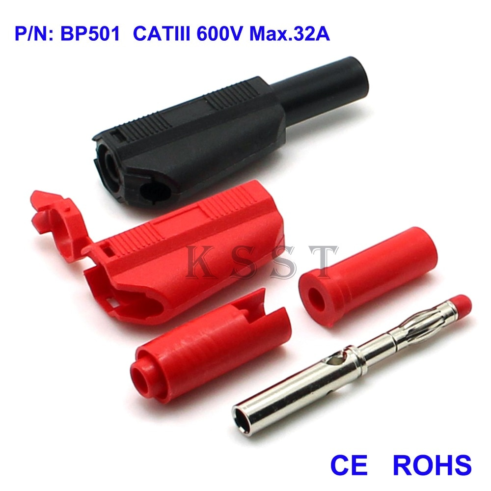 BP501-قابس موز قابل للتكديس 4 مللي متر ، لحام من النوع CATII600V / 32A ، 100 قطعة