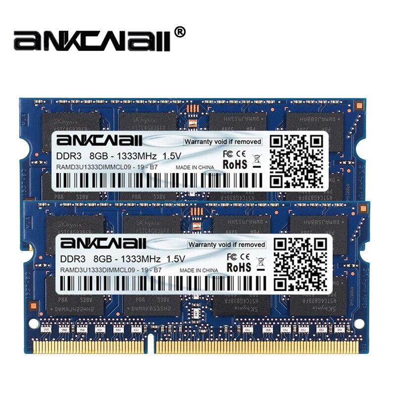 Ram ddr3l 8 gb (2 pces x 8 gb) 1333 mhz 1600 mhz PC3-10600/12800 para a memória do portátil de intel dimm 1.35 v 204pin