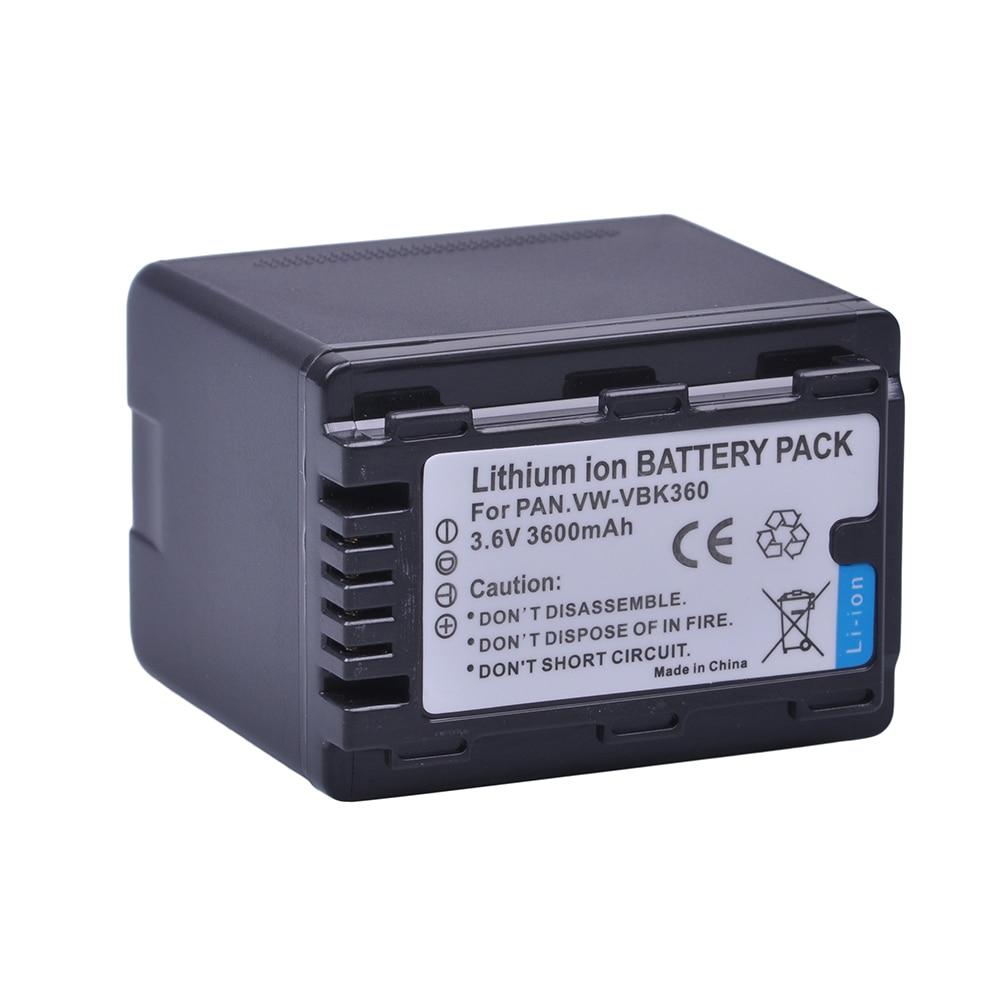 1X3600mAH VW-VBK360 VW VBK360 VWVBK360 Cámara batería para Panasonic HDC-HS80 SD40 SD60 SD80 SDX1 SDR-H100 H85 H95 HS60 HS80 TM60