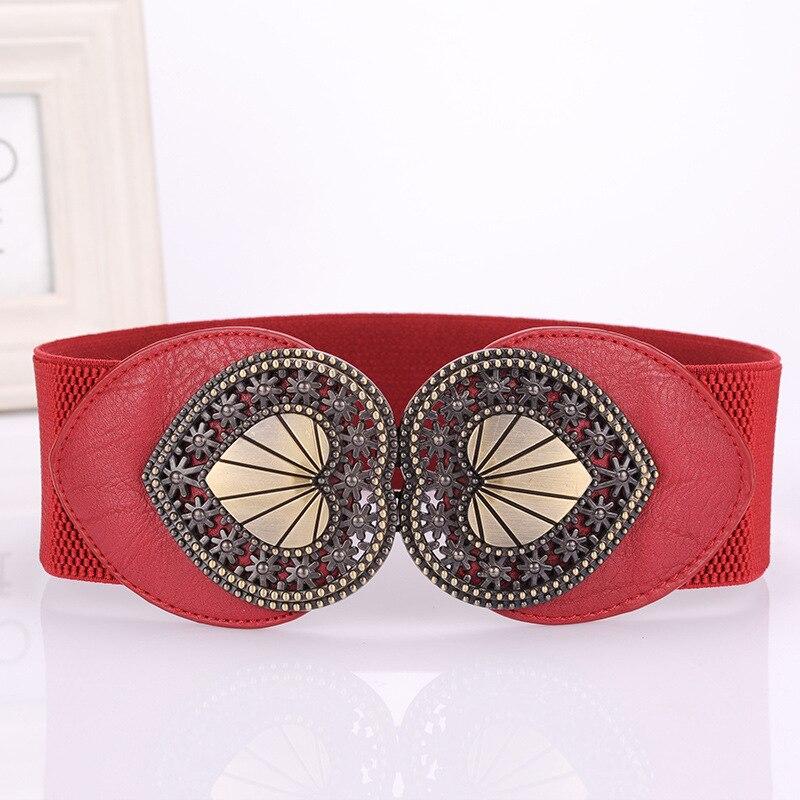 Nuevo Vintage cinturón de diseño para las mujeres en la hebilla elástica ancha cintura elástica Mujer cinturones de mujer de cuero de la PU cinturón a la moda