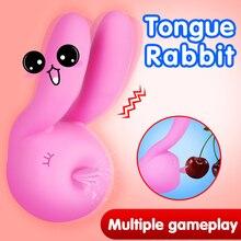 Tongue Licking Vibrator For Women Vagina Cute Rabbit Shape Breast Clitoris Stimulation Women Masturbation Female Nipper Massager