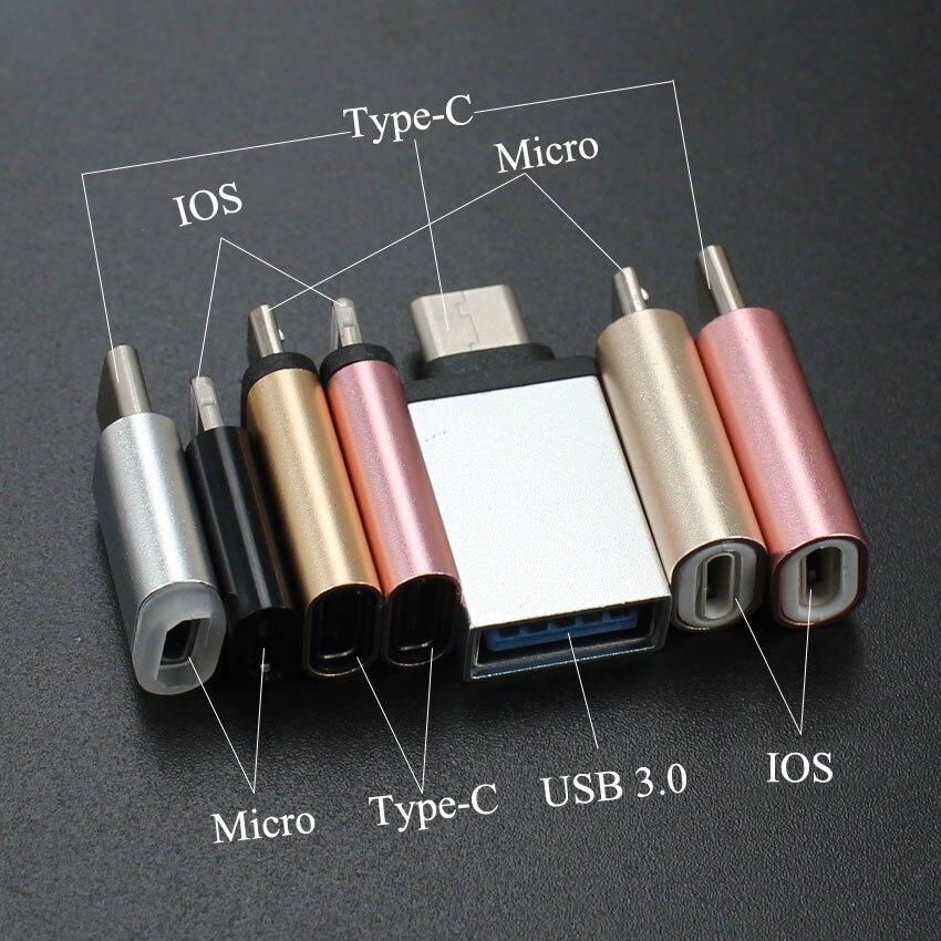 3 pièces pour iPhone type-c adaptateur vers Micro USB/USB 3.0 Type C pour iPhone/Android câble convertisseur adaptateur