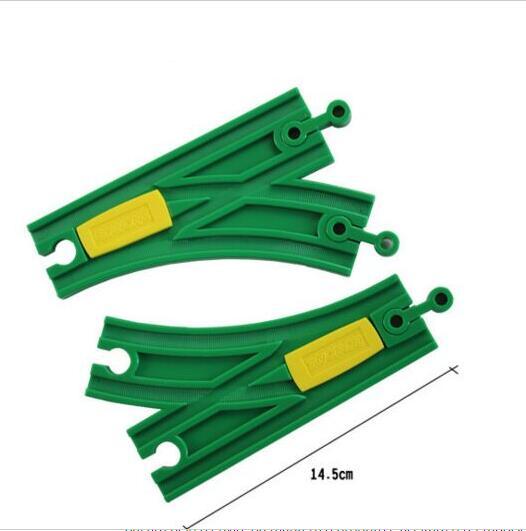 p147 2 pcs Plastic Change Track Rail Single & Double Head Compatible Track Fit  Brio Wooden Train Boy / Children Toy