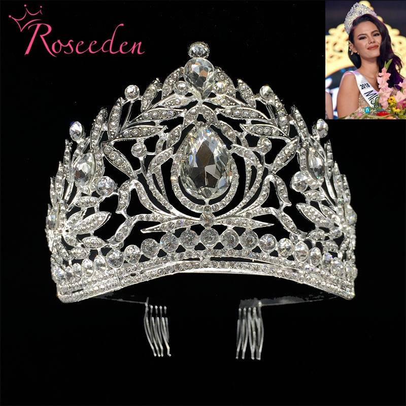Miss Universo Filipinas corona Tiara clásica plata Rhinestone Boda nupcial Tiara envío gratis RE998