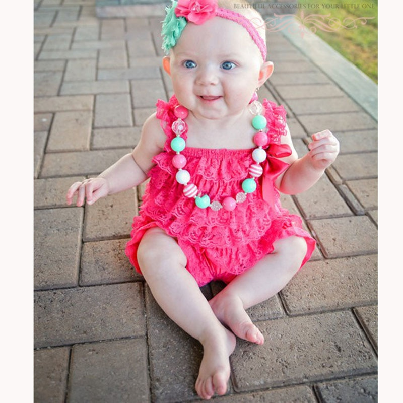 Baby Girls Clothes Infant Toddler Hot Pink Lace Romper Newborn Ruffled Petti Kids Jumpsuit Photo Prop Outfit