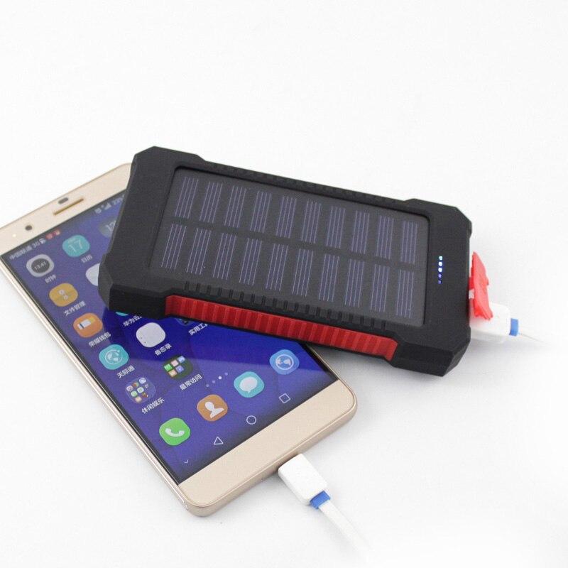 2017 Nuevo portátil impermeable de energía Solar 10000mah Dual-USB cargador de batería Solar externa para teléfono cargador Universal
