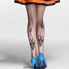 Medias tatuaje estampado patas traseras pantimedias tótem Dragón