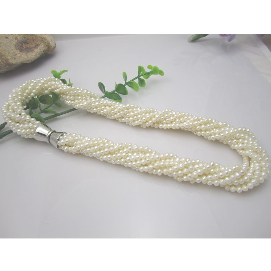Envío gratuito blanco agua dulce perla collar multicapa 3-4MM giro collar chockers para WomenJewelry broche de imán