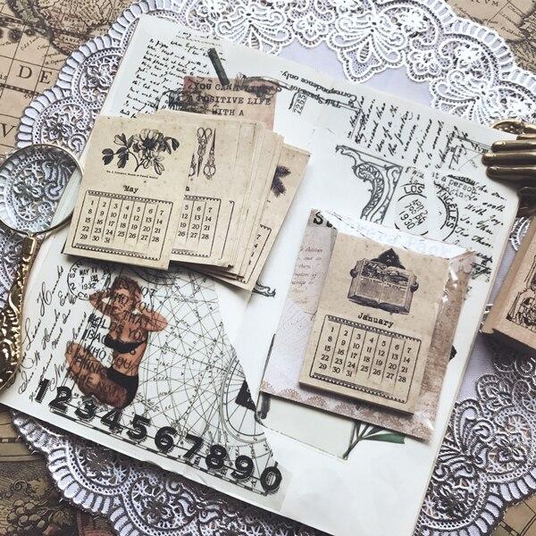 KSCRAFT 24pcs Retro Calendar Cardstock Die Cuts for Scrapbooking Happy Planner/Card Making/Journaling Project