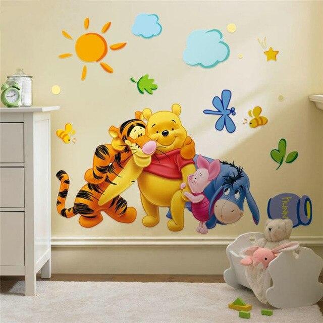 % Винни-Пух друзья наклейки на стену для детских комнат zooyoo2006 декоративный стикер Adesivo де parede съемная ПВХ Наклейка на стену