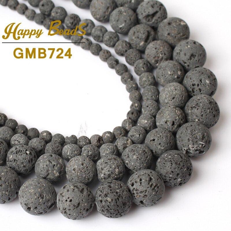 Contas de Lava Rocha Vulcânica Natural Chapeamento Preto Top Quality Rodada Pedra Solta beads Para Fazer Jóias DIY Colar Pulseiras