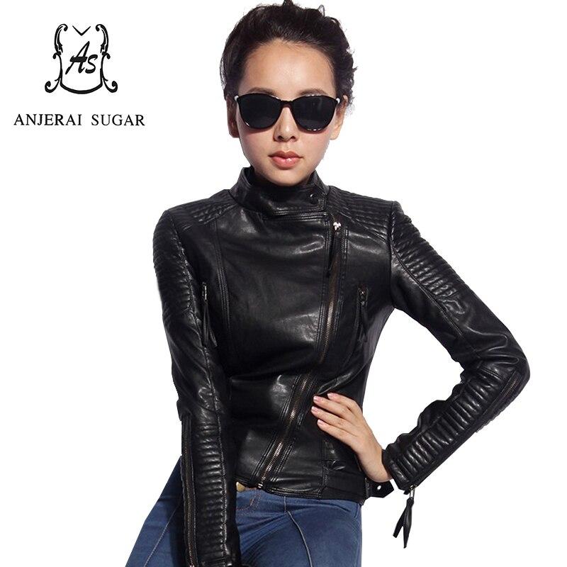 Chaqueta de piel sintética con cremallera oblicua para mujer, abrigo de piel...