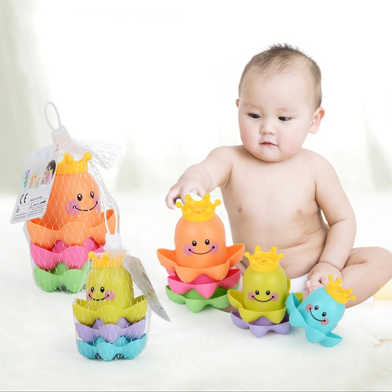 1Set Kids Bath Toy Ocean Life Stacking Cups  Children Play Educational Cute Funny Bathroom Toys Color Random