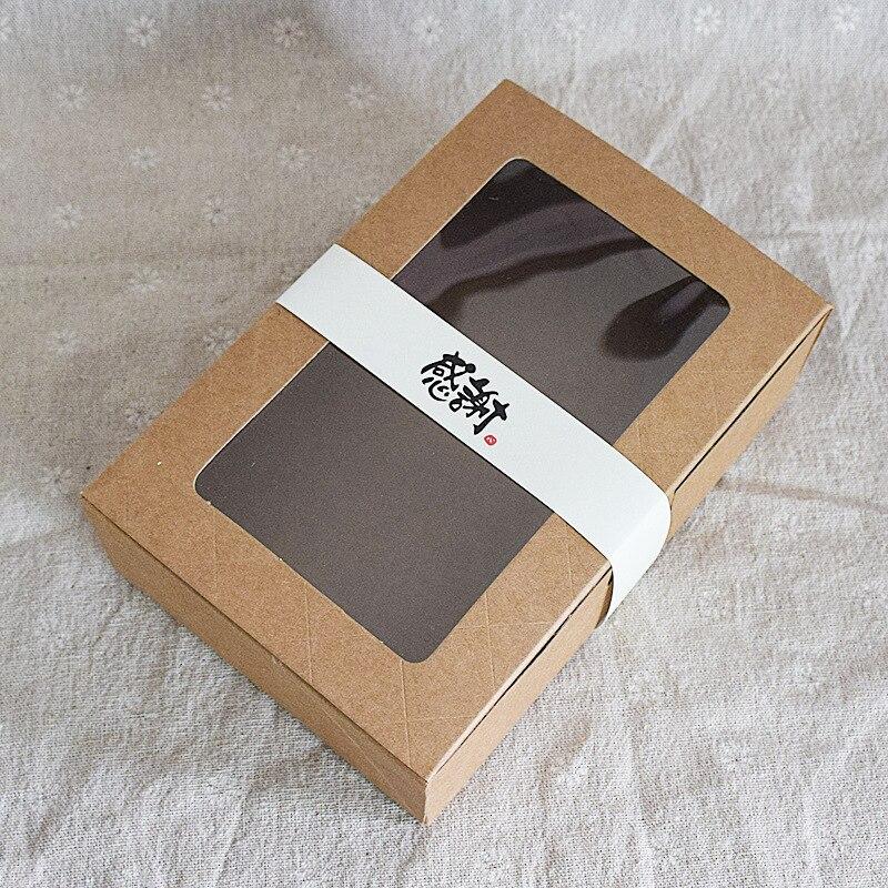 300 unids/lote 18x12x5cm marrón Kraft caja de papel con ventana caja de...