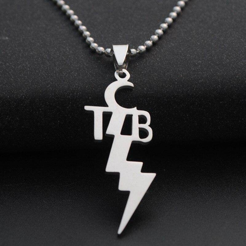 10 pçs/lote nova moda feminina pingente de aço inoxidável tcb elvis presley colar jóias 3 correntes para escolher colares