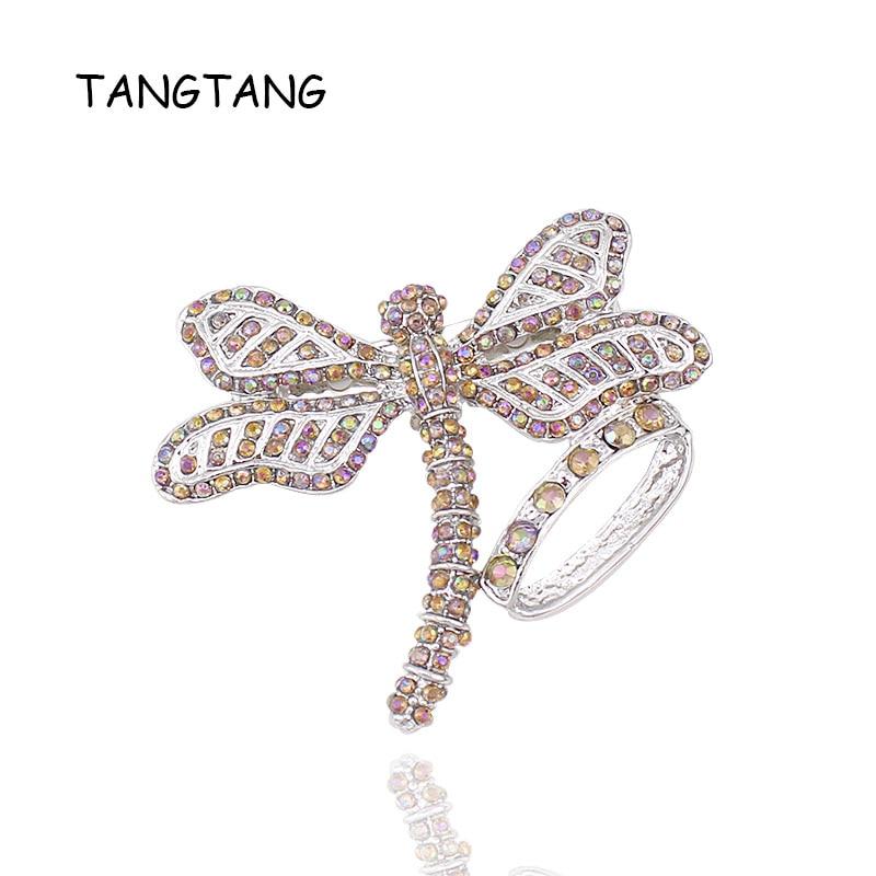 Broche de libélula barato amarillo AB colorido Diamante de imitación chapado en rodio mujeres hombres joyería alfileres promoción regalo, Artículo NO. BH8266