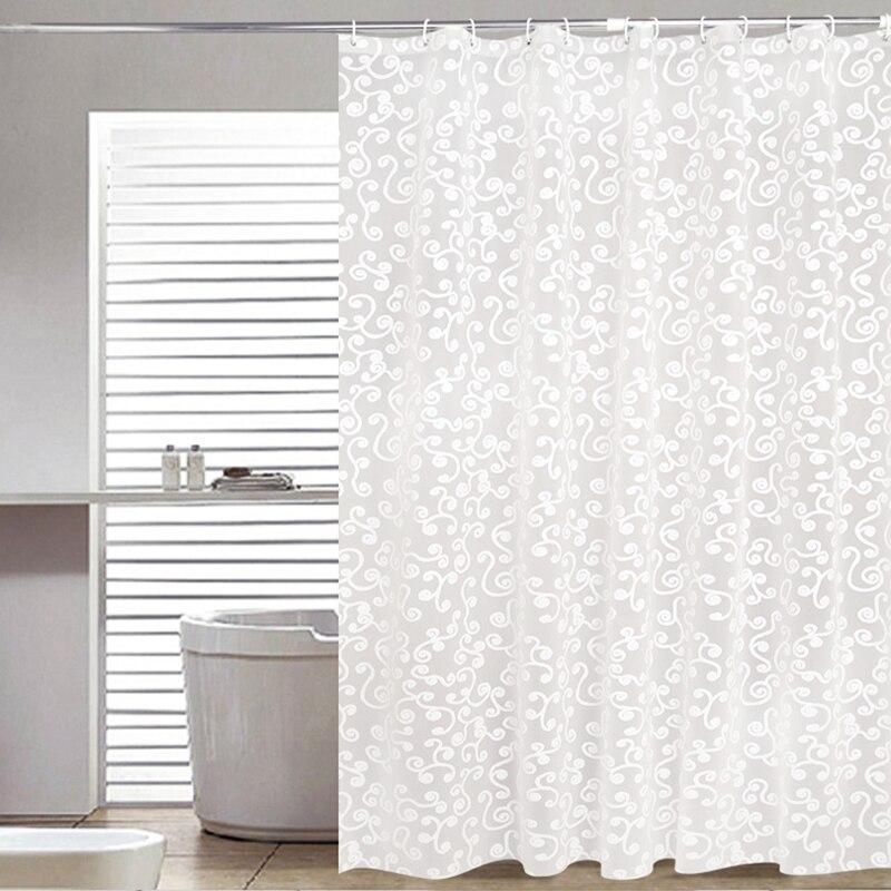 Простая занавеска для ванной белая Геометрическая печатная защита PEVA занавески для душа Пластиковые водонепроницаемые прессформы продукты для ванной