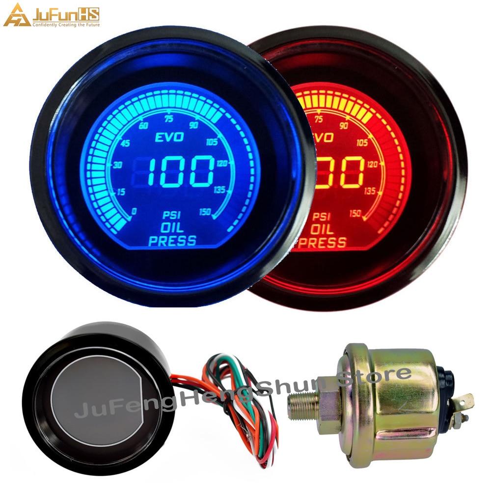 52mm Car Oil Pressure Gauge Psi DC 12V Auto Blue Red LED Light Tint Lens Gauges Digital Fuel Press Meter Manometer with Sensor