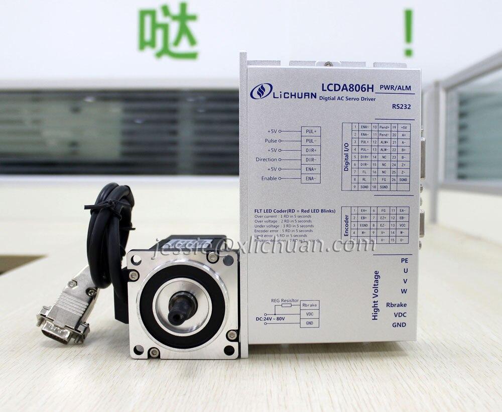 Nuevo Lichuan 200w dc servomotor 36v 0.637N. M par de sujeción y servocontrolador de CA 24 V-80 V Kit CNC
