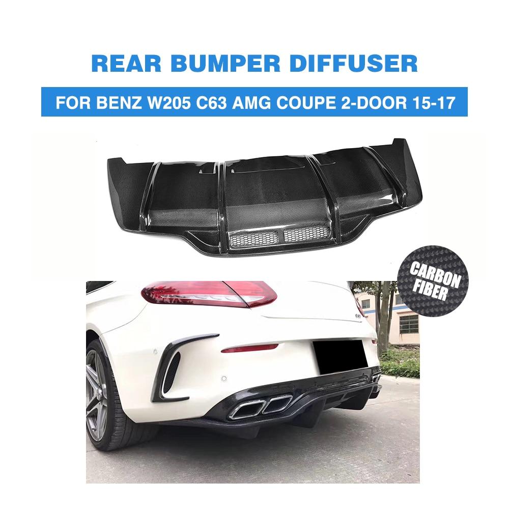 Parachoques trasero de fibra de carbono labio del difusor de escape para Mercedes Benz W205 C205 C63 AMG Coupe 2 puertas sólo 2015-2017 Convertible