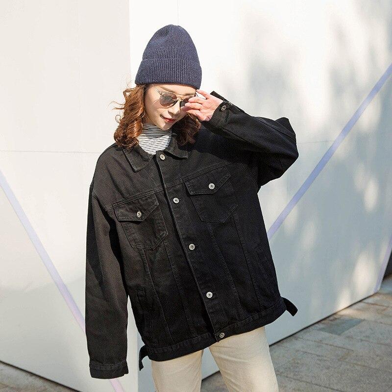 2019 chaqueta vaquera para mujer, chaqueta vaquera negra larga básica, abrigo, chaqueta vaquera de un solo pecho, mangas completas, moda BF, abrigos de mezclilla sueltos para mujer
