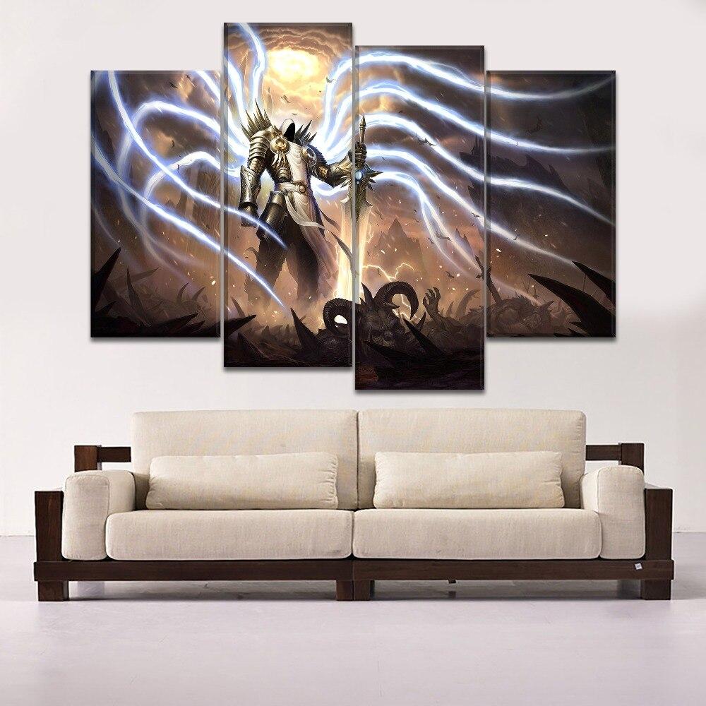 Lienzo impresiones de alta definición pared imagen modular artística 5 piezas Dark Demon Tyrael pintura decoración del hogar juego carteles marco o sin marco