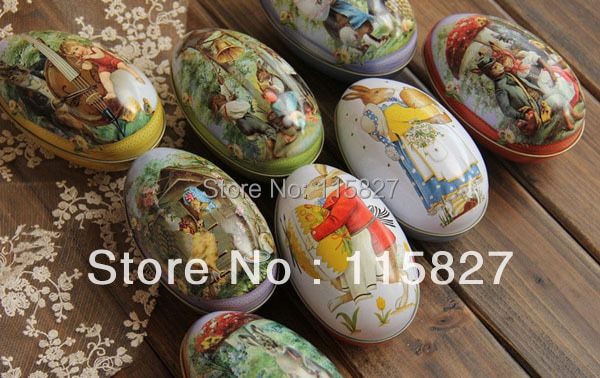 ¡Envío gratis! 6 unids/lote de regalo de Pascua para guardar huevos caja de joyería caja de lata caja de regalo