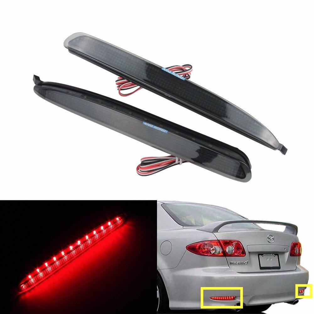 ANGRONG 2x Black Smoked Lens Bumper Reflector LED Stop Brake Light For GG Mazda6 Atenza Mazda 6(CA171)
