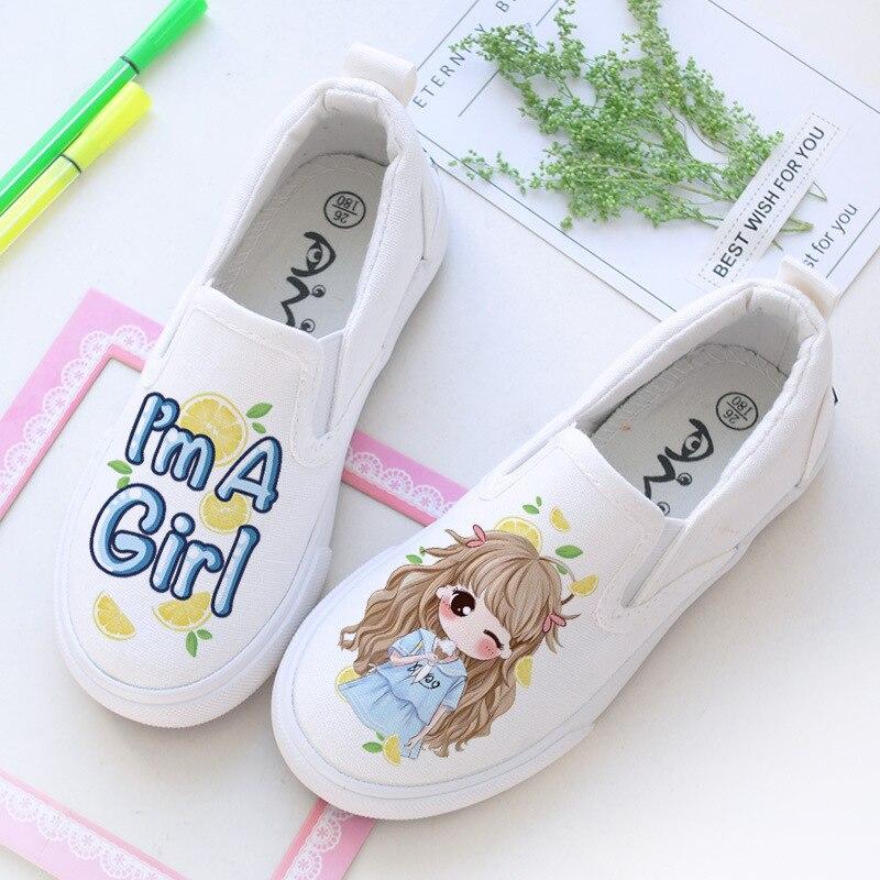 أحذية قماشية مطبوعة يدويًا للأطفال البنات ، شال شعر طويل للفتيات ، أحذية قماشية بأحرف اسكينية صغيرة ، كاجوال AB للطلاب ، جديد ، #1