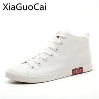 Мужские высокие кроссовки в английском стиле, однотонные белые и черные повседневные кроссовки на плоской подошве, весна-осень