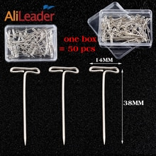 AliLeader 50 Pieces/Box 38mm long Silver T Shape Needles Pin For Wigs On Mannequin Head Hair Weaving