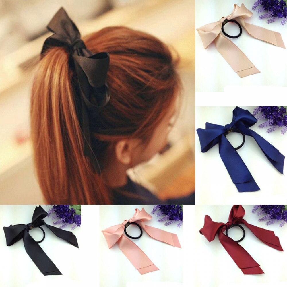 Elástico para mulheres, tiara de borracha tecido cetim laço para cabelo arco meninas acessórios para cabelo