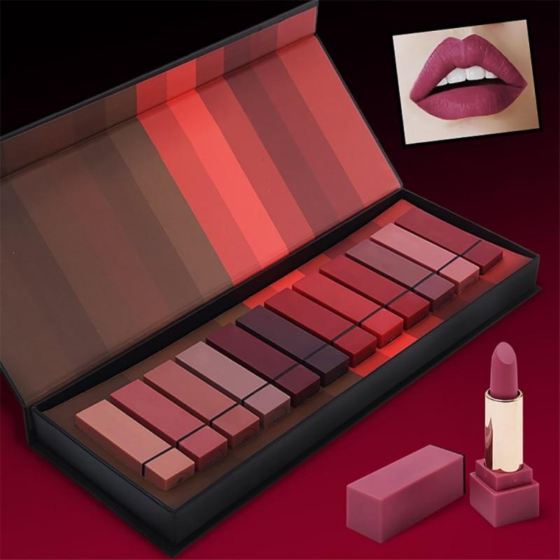 12Pcs/Set Matte Long-Lasting Lipstick 12 Colors Lip Gloss Waterproof Matte Beauty Lips Makeup Beauty