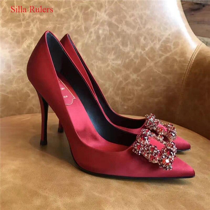 حذاء نسائي بكعب عالٍ من الكريستال ، حذاء زفاف بمقدمة مدببة ، أحمر وأزرق ، عصري