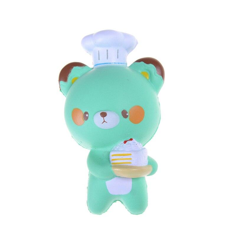 Panda Jumbo 14CM correa de teléfono móvil Chef repostería oso Squishy pan lento Rising Toy dibujos animados pastel moño con fragante