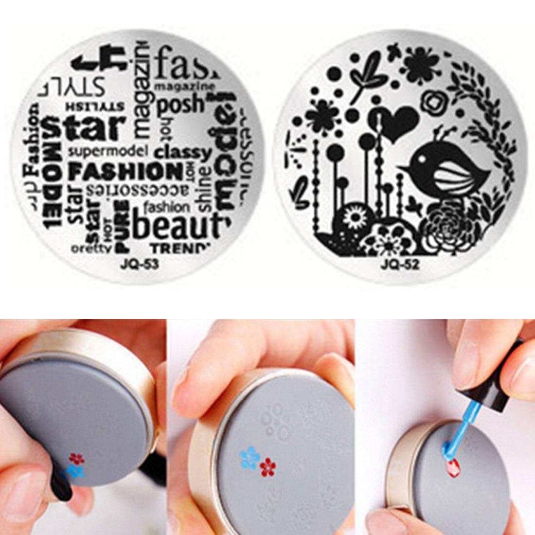 Ensemble de bricolage pour manucure, outil Nail Art plaques à emboutisser modèles plaque de timbres fleur ronde papillon oiseau motif indien