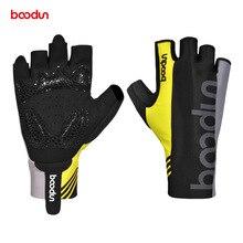 Мужские и женские перчатки BOODUN, велосипедные перчатки с полупальцами, ударопрочные летние дышащие перчатки для шоссейного велосипеда, противоскользящие эластичные перчатки для велосипеда MTB