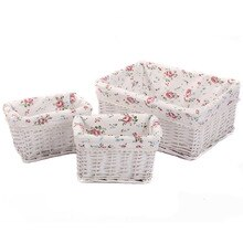 Small Large Woven Wicker Storage Baskets & Bins zakka Rectangular Containers Drawers Organizer Box cesto de roupa suja panier