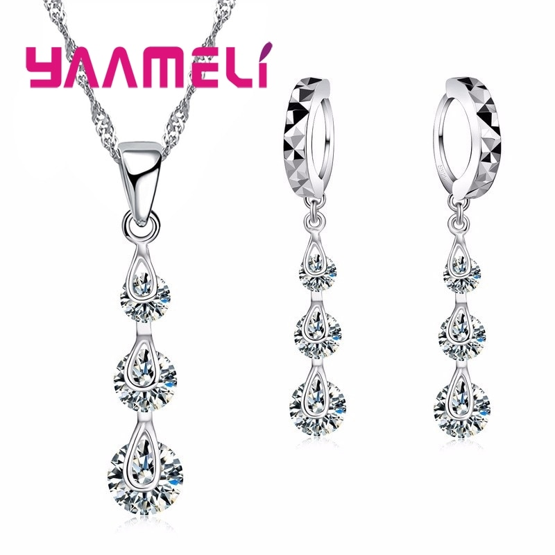 hibride luxury clear cubic zircon women jewelry sets bridal wedding wihte gold color necklace set parure bijoux femme n 280 Fashion Jewelry Sets for Women Valentine Day 925 Sterling Silver Cubic Zircon Necklace Hoop Earrings Bridal Charm Bijoux