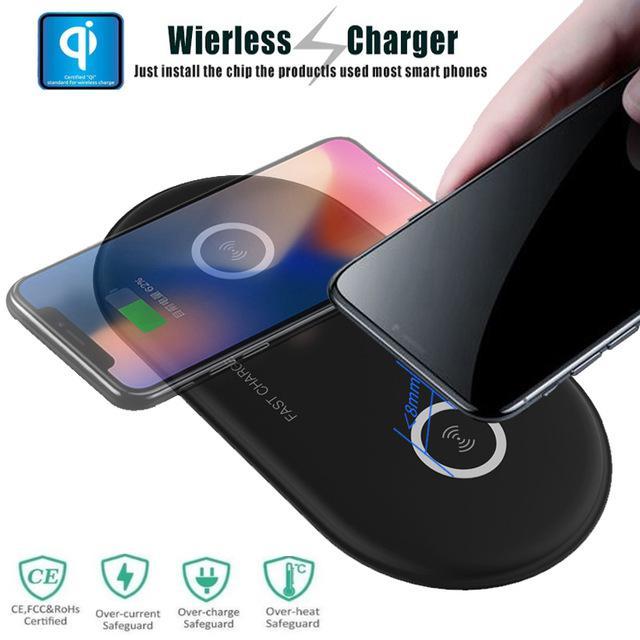 Cargador inalámbrico Qi MeterMall 2 en 1 para iPhone X Xs MAX XR 8 plus almohadilla de carga rápida para Samsung S8 S9 Plus Note 9 8